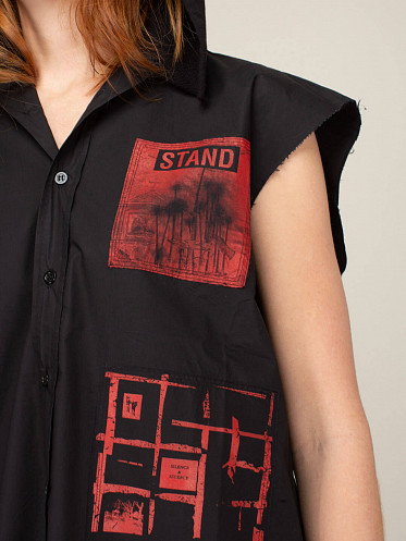 Sleeveless Hooded Shirt With Patches