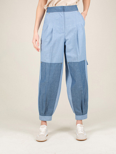 Chambray Balloon Trousers blue