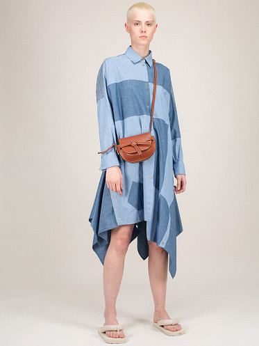 Oversized Patchwork Dress blue