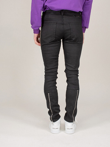Waxed Flare Denim Jeans black