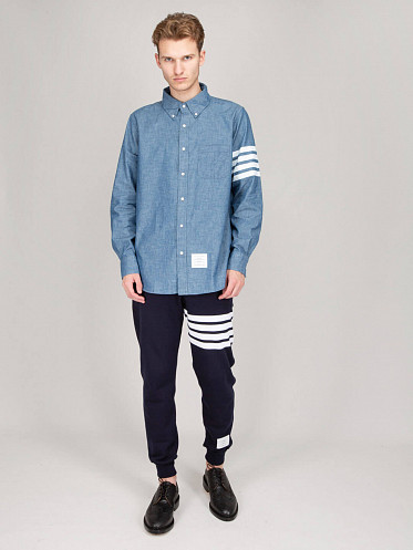 Straight Fit Button Down Shirt jeans blue