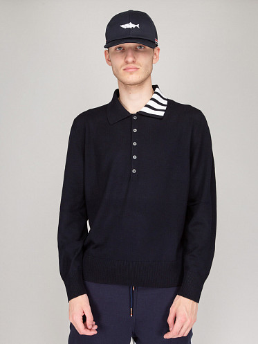 Jersey Relaxed Fit Wool Polo navy
