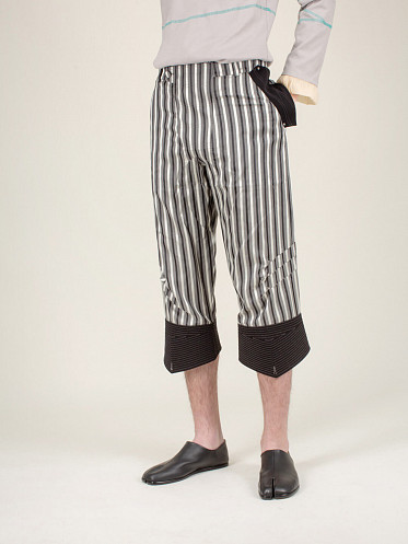 Sforza Flipped Hem Trousers Moonlight Stripe roan black