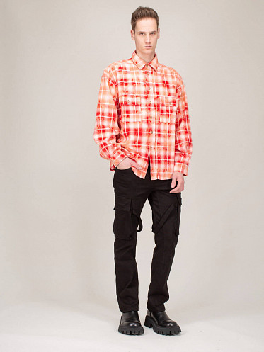 Bleached Check Shirt red