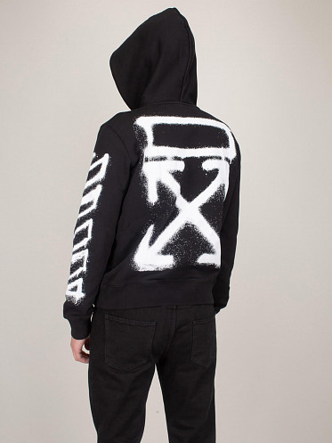Spray Marker Slim Hoodie black white