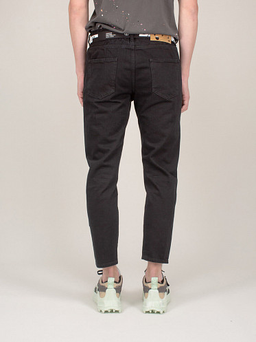 Industrial Belt Low Crotch Slim Jeans black