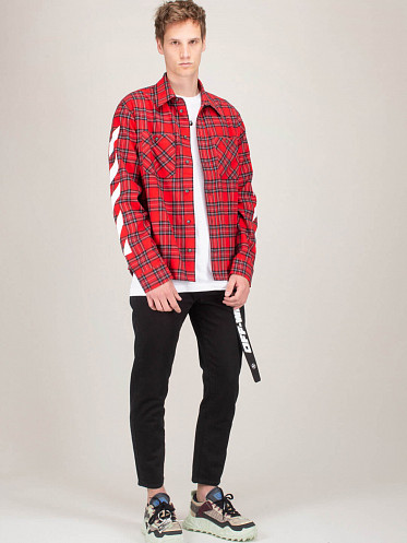 Diagonal Flannel Shirt red white