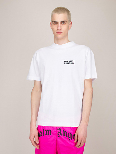 Fish Club Embroidered Tee white