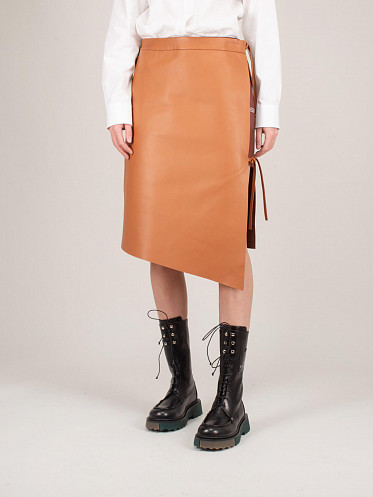 Leather Strings Middlelength Skirt brown