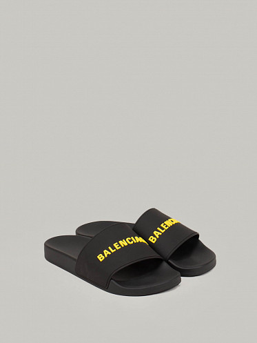 Pool Slide Rubber Logo black yellow
