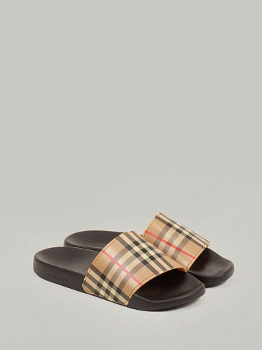 Furly Check Sandals Archive beige