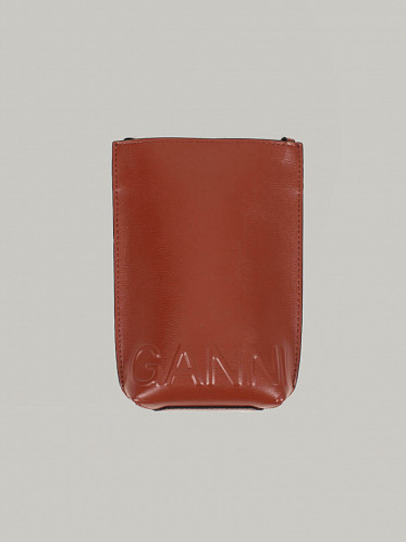 Recycled Leather Crossbody Mini Bag madder brown