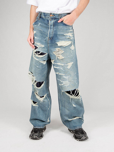 Large Baggy Heavy Destroyed Jeans blue