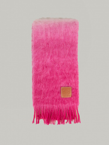 Dip Dyed Mohair Scarf white pink
