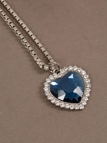 Crystal Heart Necklace blue
