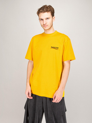 Large Fit Political Campaign T-Shirt yellow