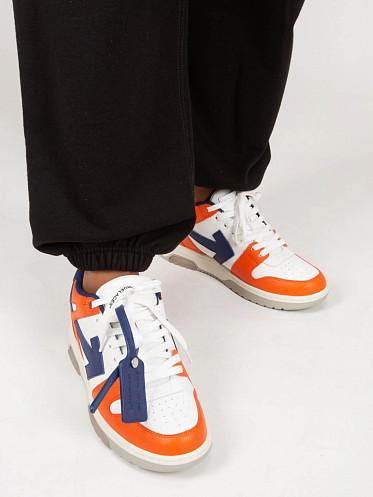 Out Of Office Calf Leather Sneaker white orange