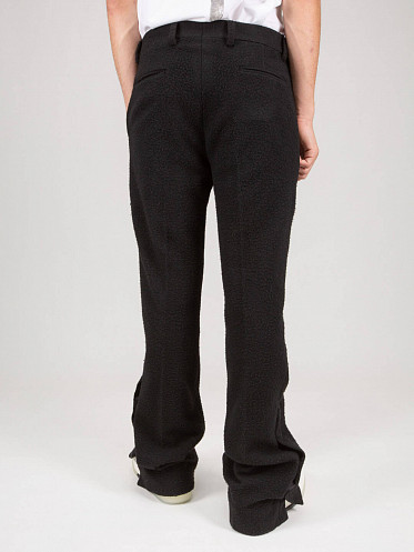 Boiled Wool Flare Tailored Pants black