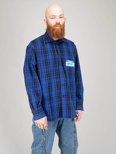 My Name Is Flannel Shirt blue