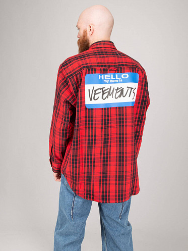 My Name Is Flannel Shirt red
