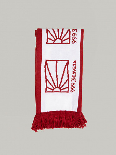 Scarf Knit white red