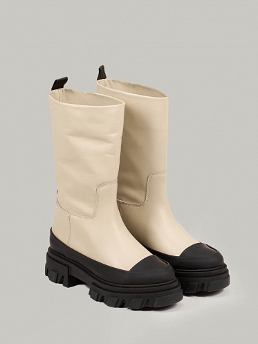 Calf Leather Boots oyster grey