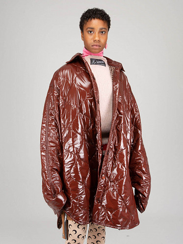 Extremely Big Padded Outerwear Shirt dark brown