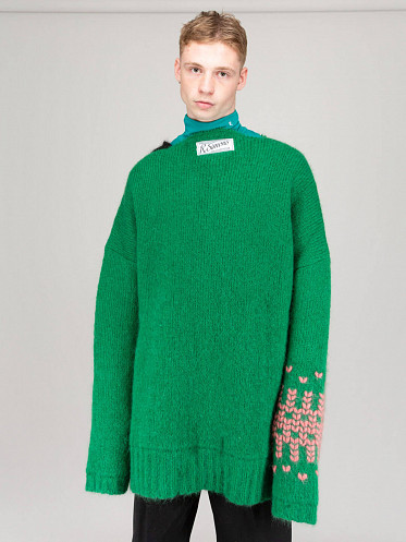 Oversized Knit Sweater with Jacquard Sleeve green