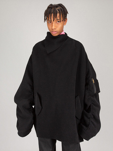 Bomber Top with Scarf Collar black