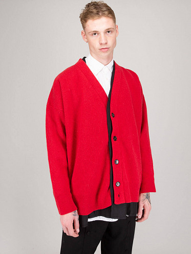 Big Ribbed Knit Cardigan with Fabric Lining red