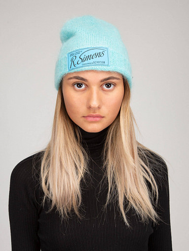 Knit Beanie with Woven Label aqua