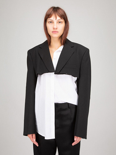 Cropped Tailored Jacket black