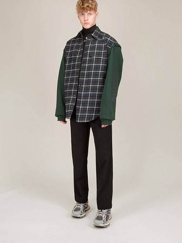 Patched Sleeve Shirt green