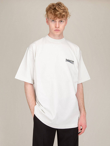 Large Fit Political Tee dirty white