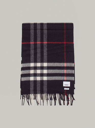 Giant Check Cashmere Scarf navy