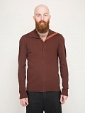 Button Neck Polo red brown