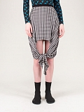 Scarf-tie Detail Gingham Mini Skirt