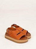 Platform Leather Sandal Walnut
