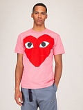 Mens T-Shirt Pink Red Heart