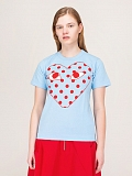 Ladies T-Shirt Polkadot blue