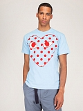 Mens T-Shirt Blue Polkadot