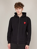 Double Heart Sweatshirt Zip Woven black